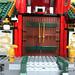 Grand wooden entrance of the Ninjago Temple
