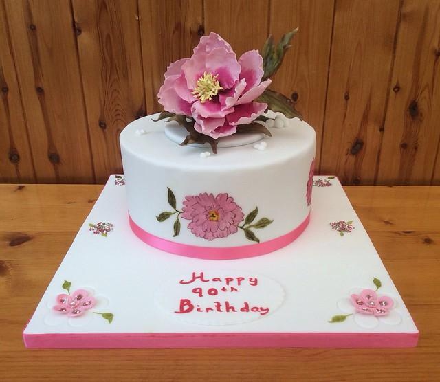 90th Birthday Hand Painted Peony Cake