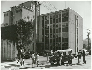Government Buildings, Lowe Street with M. O. W. Staff preparing a field trip with a Land Rover, Gisborne,