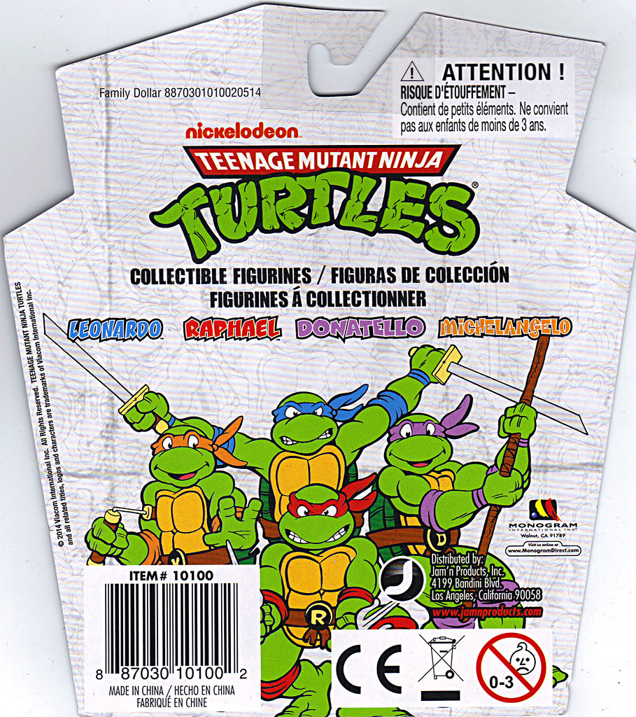 MONOGRAM INTERNATIONAL :: TEENAGE MUTANT NINJA TURTLES; COLLECTIBLE FIGURINES / LEONARDO ..card backer,reverse (( 2014 )) by tOkKa