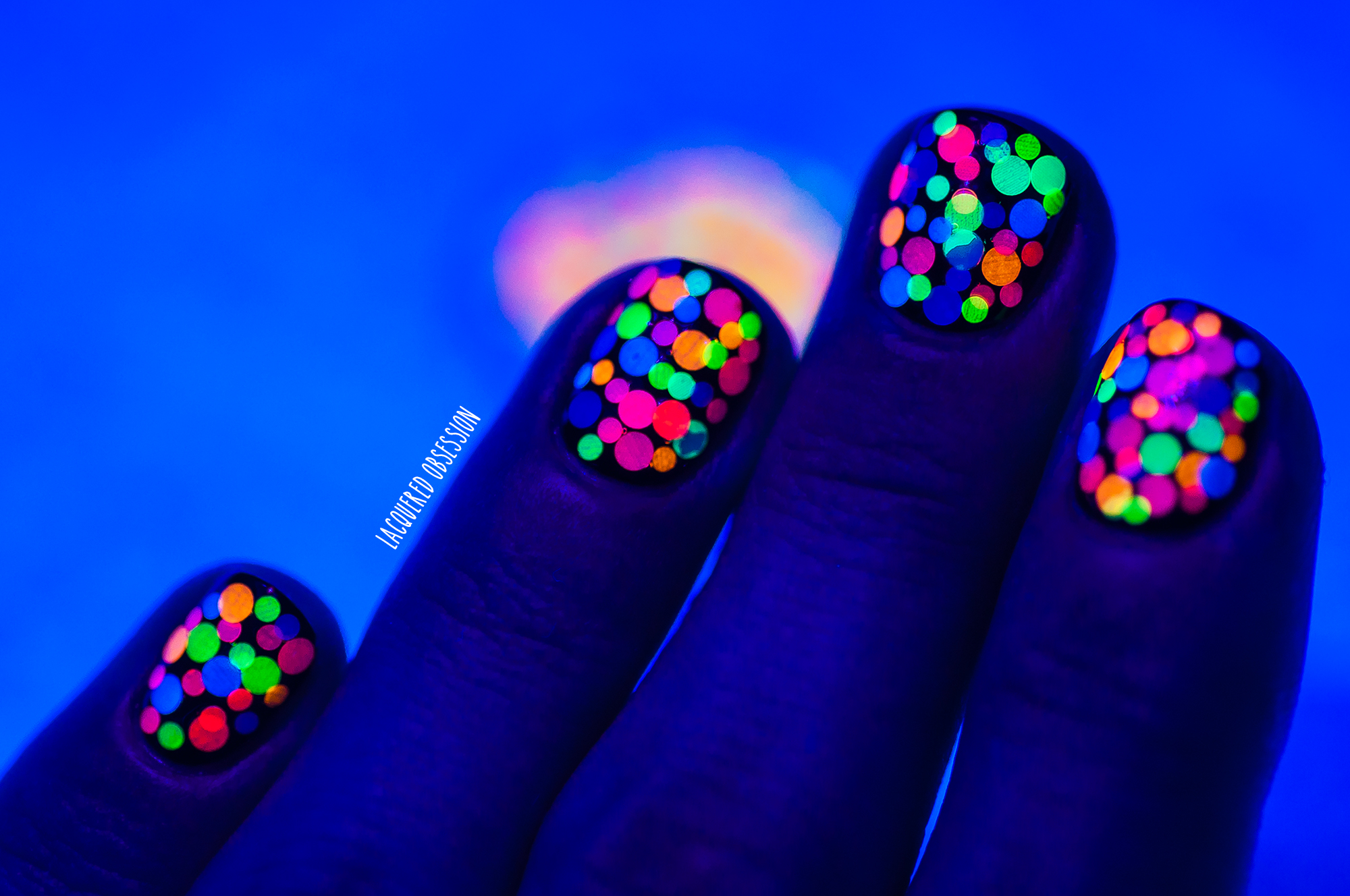 Glow-In-The-Dark Neon Glitter Nails | Glamorous Neon Nail Designs You Must Try This Season | bright colorful nail designs