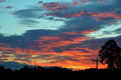 sunrise trees sky telephonepole pole electricpole wires ncmountainman d3200 phixe lowresolutionversion nikon clouds