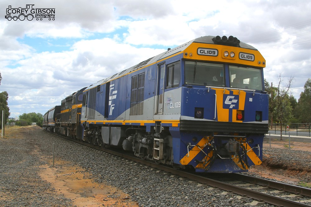 GL109 & C501 await a train order to depart Nhill. by Corey Gibson