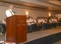Adm. Harry Harris, Jr., delivers remarks at a ceremony honoring World War II veterans of the 100th Battalion 442nd Regiment at the Japanese Cultural Center of Hawaii. (U.S. Navy/MC2 Brian Wilbur)