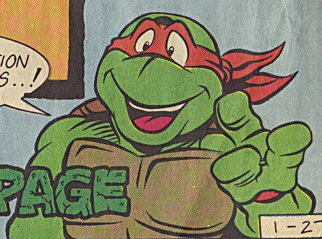 TEENAGE MUTANT NINJA TURTLES  { newspaper strip } TURTLES ACTIVITY PAGE ; ..art by Brown , Lavigne - MIKEY isolated :: 01271991 by tOkKa
