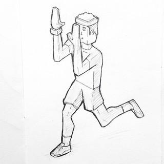 An unorthodox running style. #drawing #sketch | by Tom Cardo-Moreno