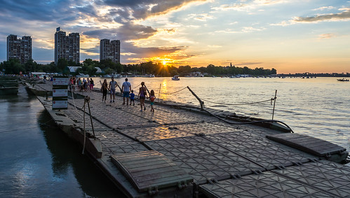 city bridge sunset sky clouds river island waterfront outdoor danube pontoon