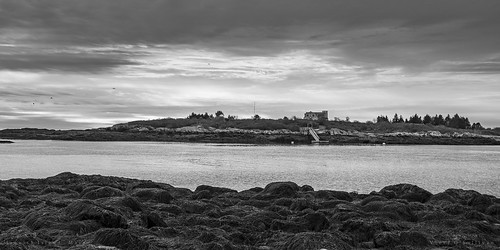 harpswell maine unitedstates us america northamerica usa landscape seascape blackandwhite bw 100240mmf3545 sea ocean rock sky water clouds