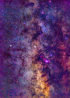Milky Way Detail with Saturn and the Lagoon Nebula, Finger Lakes Region of New York