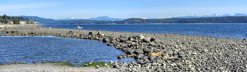 canada vancouverisland clouds mountains landscape seascape blue ladysmith piles pilings piers straitofgeorgia storiesbeachpark