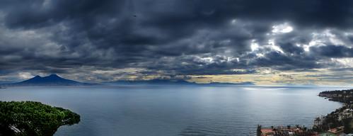 sea sky italy panorama clouds landscape volcano italia mare napoli naples vesuvio