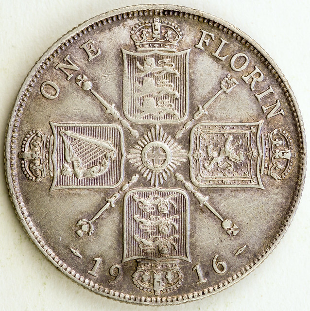 Coin photography - 1916 Great Britain - One Florin