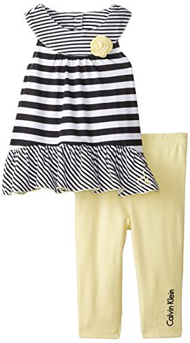 Calvin Klein Baby-Girls Infant Black White Stripes Top with Pants, Yellow, 12 Months