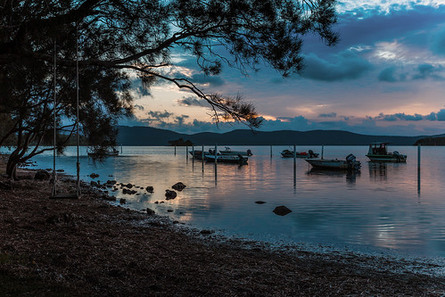 australia newsouthwales greenpoint greatlakes myallcoast wallislake sunset boats lake clouds swing canonef24105mmf4lisusm thelakesway forster canoneos6d shore beach