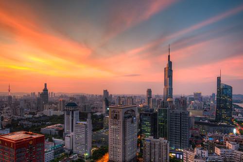 skyline sunset city nanjing building architecture cityscape landscape landmark tall high cloud sky nanjingshi jiangsusheng china cn skyscraper urban blue twilight dusk dark outdoor roof nikon d800 nikond800 tamronsp1530f28