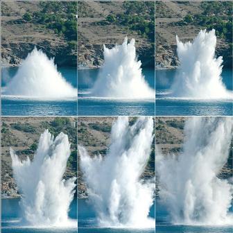 Momento de la explosión controlada de la mina SGM de roses