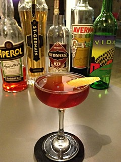 Devil's Soul (Ted Kilgore via Gaz Regan) with Rittenhouse rye, Vida mezcal, Averna, St Germain, Aperol, flamed orange twist | by *FrogPrincesse*