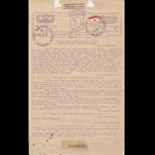 Mensaje del General McAuliffe a sus tropas en navidad de 1944