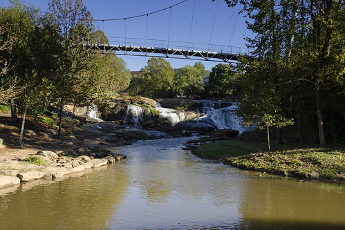 park city bridge usa water river landscape liberty us downtown day south sunny center falls clear southern waterfalls carolina greenville the reedy