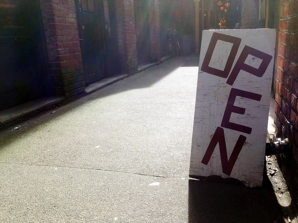 Open as in Signs in Alleys