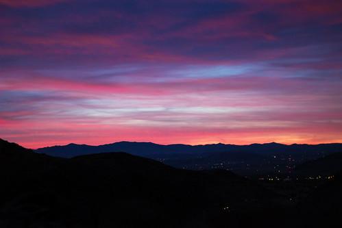 california park pink blue sunset black tree yellow clouds desert joshua national