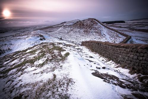 winter england sky snow castle grass wall canon landscape roman unitedkingdom fort lee filters drama hadrians 6d bardonmill