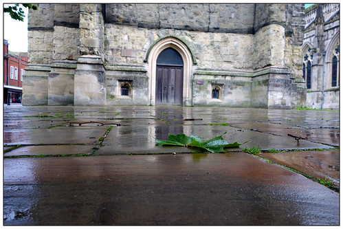 autumn wet reflections leaf belltower chichester flagstones rx100