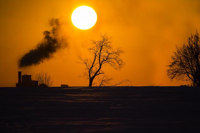 Sunset smoke