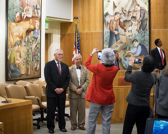 Judges Vadas and Breyer in front of New Deal Murals, US District Court, McKinleyville