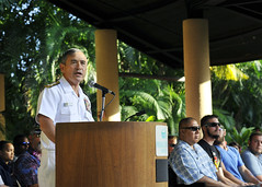 Adm. Harry B. Harris, Jr., commander, U.S. Pacific Fleet, speaks to the audience during the Navy Wounded Warrior - Safe Harbor 2015 Pacific Trials closing ceremony in Honolulu. (U.S. Navy/MC2 Jeff Troutman)