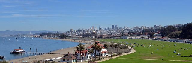 Crissy Field and San Francisco Skyline, California, USA