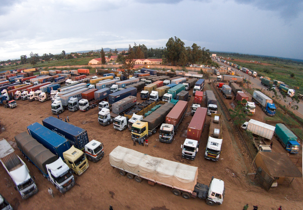Trucks in a parking yard in Malaba. | TradeMark East Africa | Flickr
