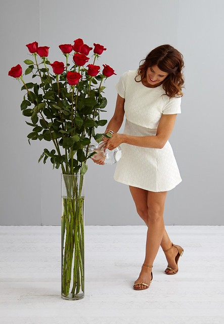 woman in white dress watering giant five foot tall red roses from a glass pitcher in a tall glass vase