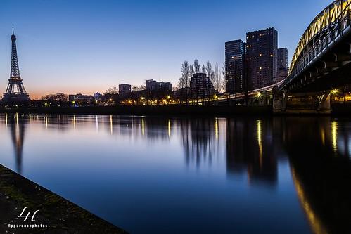 paris seine reflet toureiffel bluehour rer sncf fleuve parisien régionparisienne pontrouelle