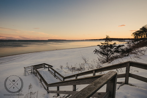 winter sunset snow cold ice beach water stairs landscape evening bay coast suffolk nikon glow smooth scenic peaceful wideangle calm stairway local february frigid northfork snowcovered eastend d610 cutchogue nofo peconicbay robinsisland pequash nikkor1635mmf4vr northforker