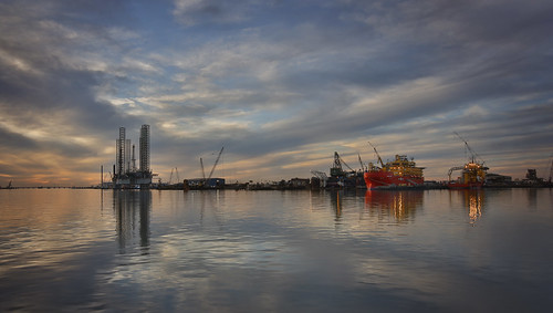 sunset sky galveston reflection water weather clouds lights evening harbor industrial texas cloudy gas oil reallyrightstuff rrs sunskycloud