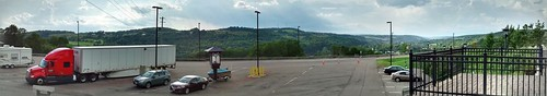 whitneypoint ny newyork restarea roehltruck mountains streetlights parkinglot fence tree trees greenery sky clouds nature scenic landscape panoramic interstate81 travel