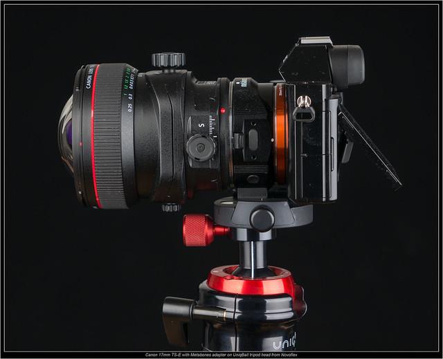 Canon 17mm TS-E with Metabones adapter on UniqBall tripod head from Novoflex