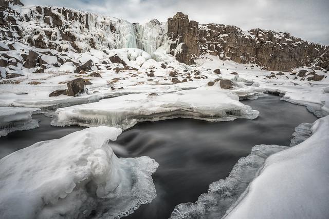 Öxarárfoss Waterfall in Þingvellir National Park, Iceland