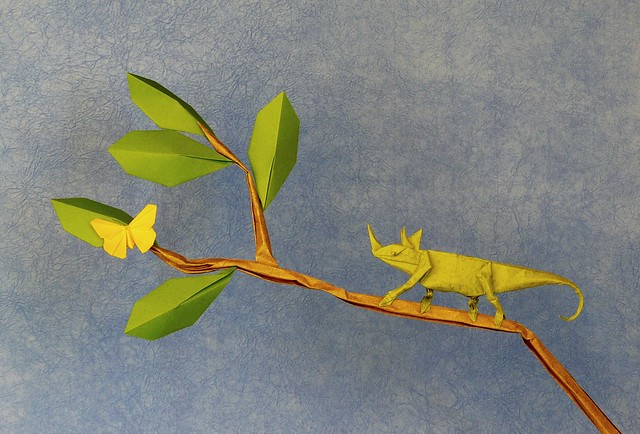 Origamido Butterfly by Michael G. LaFosse and Jackson's Chameleon by Robert J Lang
