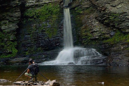 deerleap falls waterfall childspark delawarewatergap pennsylvania portrait man water pool shore cliffs photographer photography tripod backpack hiking summer
