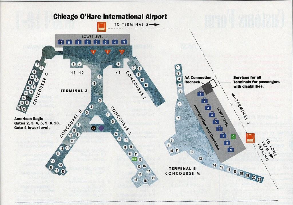 American ORD diagram, 1995 | American Airlines diagram of Ch ...