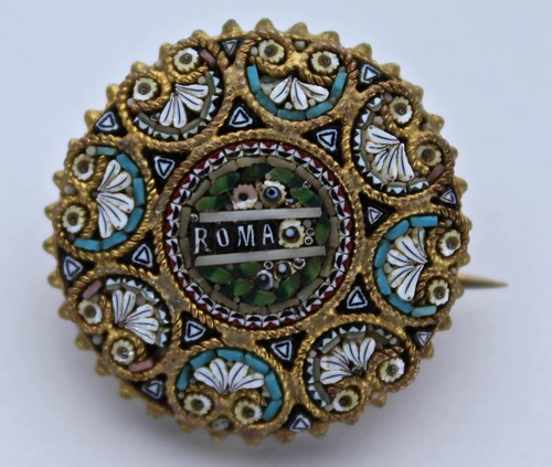ROMA Micro Mosaic Pin from Italy
