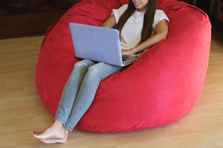 Girl on laptop in bean bag chair | by yourbestdigs