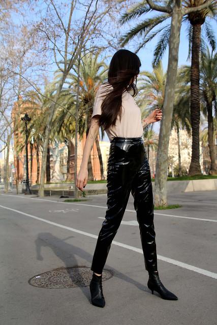 Paz Halabi Rodriguez in vinyl pants
