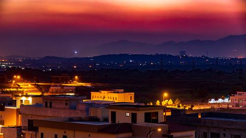 islamabad islamabadcapitalterritory pakistan pk punjab orange crimson red yellow blue purple sky cloudscape clouds mountains hills landscape cityscape townscape urban urbex nightscape golden hour dusk sunset sundown sunlight twilight gradient