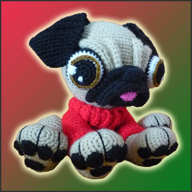 Hiro the Pug Amigurumi Crochet Pattern - English, Dutch, German | 800x800