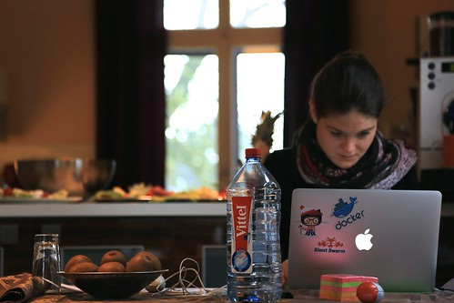 Anna, doing serious work during an offsite