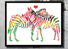 Zebras Watercolor Print Archival Fine Art Print Children room decor Watercolor painting Art Home decor African Animal Watercolor Zebras love