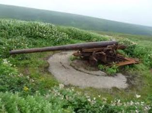 Pieza defensiva de 150mm en las islas Shumshu